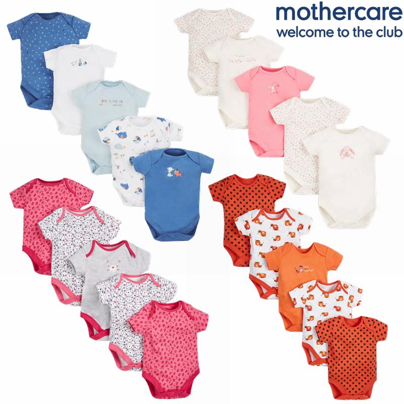 现货英国mothercare夏季宝宝短袖纯棉三角哈衣婴儿彩色包屁衣包臀