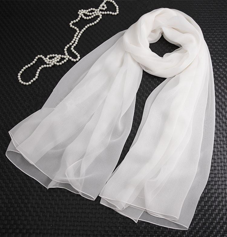 白色纯色桑蚕丝长款真丝丝巾大围巾女士披肩百搭春秋冬季夏季防晒