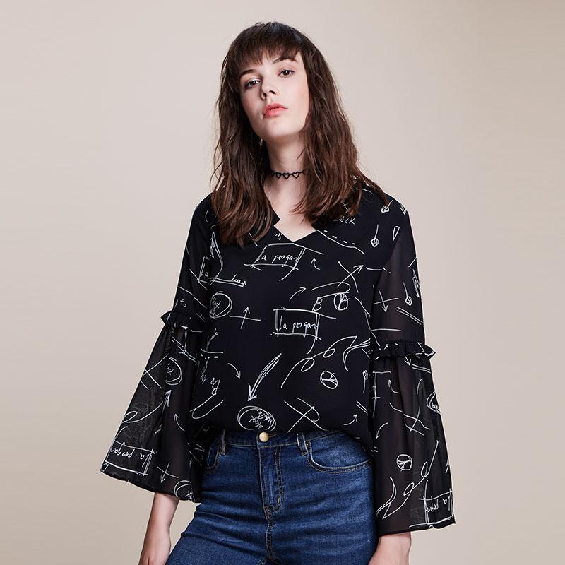 2018新款大码女装长袖藏肉胖mm遮肚上衣200斤减龄雪纺衫V领秋装