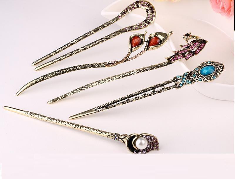 限时2件3折饰女士时尚复古宫廷古青铜发簪 发饰发插盘发镶钻U型珍珠发簪
