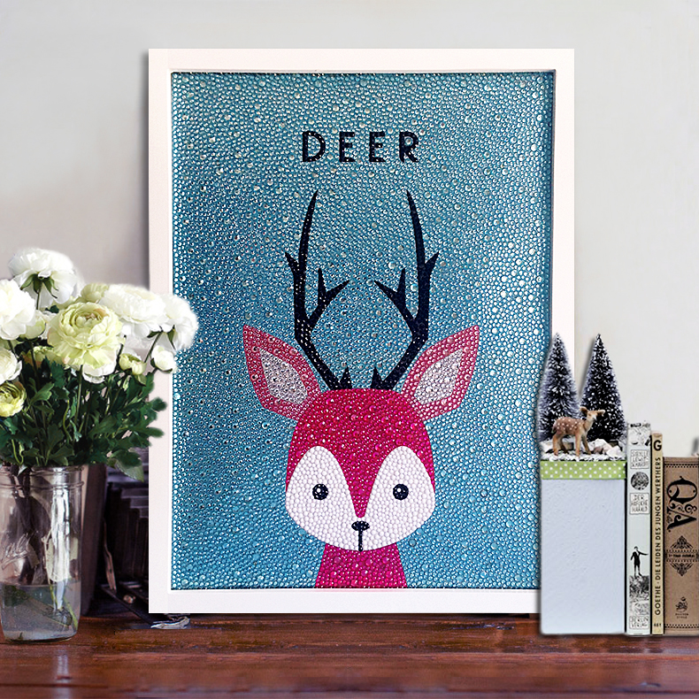 Diamond dot drill New Nordic deer modern simple childrens cartoon crystal drill stick drill cross stitch full diamond gift