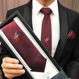 海德公园领带男结婚婚礼中式中国风燕子喜字刺绣酒红藏蓝韩版礼盒