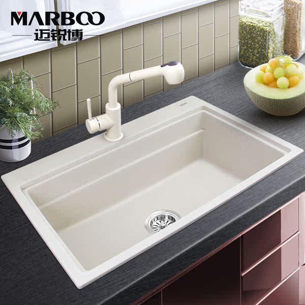 迈锐博石英石水槽白色单盆厨房手工大单槽花岗岩洗菜盆套餐sks453