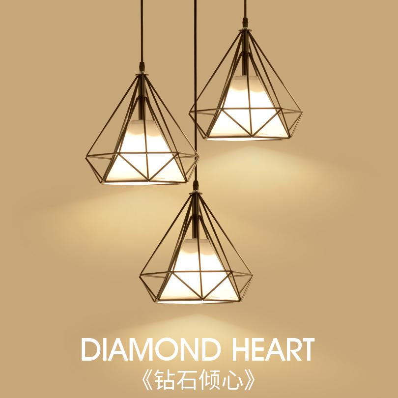 美式loft咖啡厅吊灯铁艺钻石鸟笼灯创意酒吧吧台复古餐厅布艺吊灯