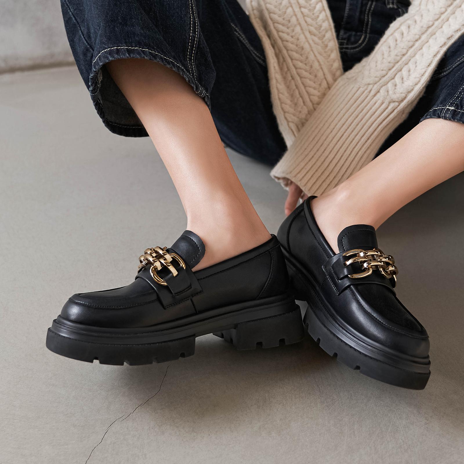 玛速主义 链条英伦风复古小皮鞋女夏2021新款百搭厚底单鞋乐福鞋