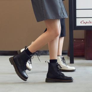 玛速主义 2021新款英伦风马丁靴女春秋ins潮百搭厚底真皮短靴靴子