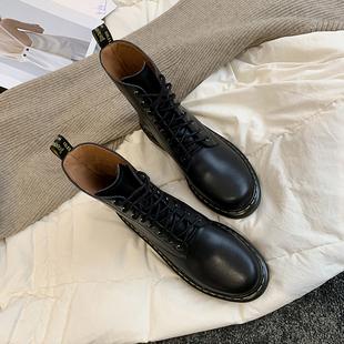 马丁靴女英伦风短靴真皮帅气黑色厚底dr1460新款2019靴子女冬加绒