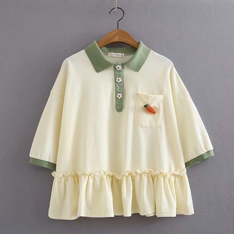 兔子系列绿色领polo衫胡萝卜T恤女夏学生chic 新品