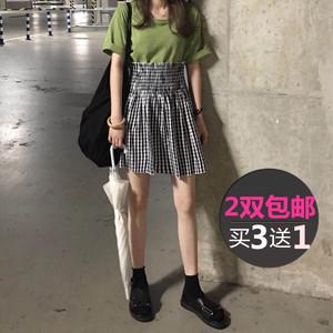 韩国糖果色卷边短袜堆堆袜女黑色袜子夏季薄款ins超火配凉鞋袜子