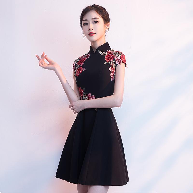 2018新款冬季时尚改良版黑色短款现代年轻款少女小旗袍礼服连衣裙
