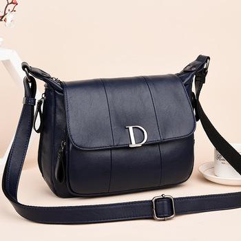 新款中年妇女包包软皮休闲女士挂包纯色单肩斜挎包女装手袋妈妈包