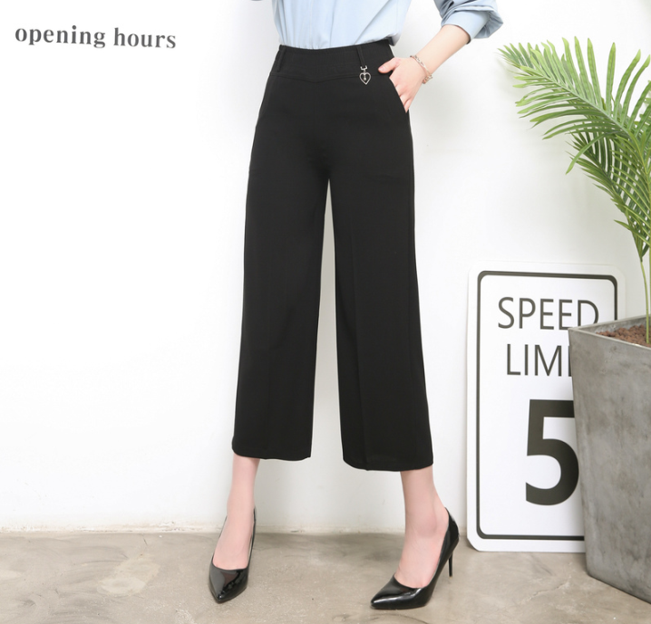Moms skirt pants summer thin high waist middle-aged and old womens pants Wide Leg Pants Capris middle-aged womens wide leg pants