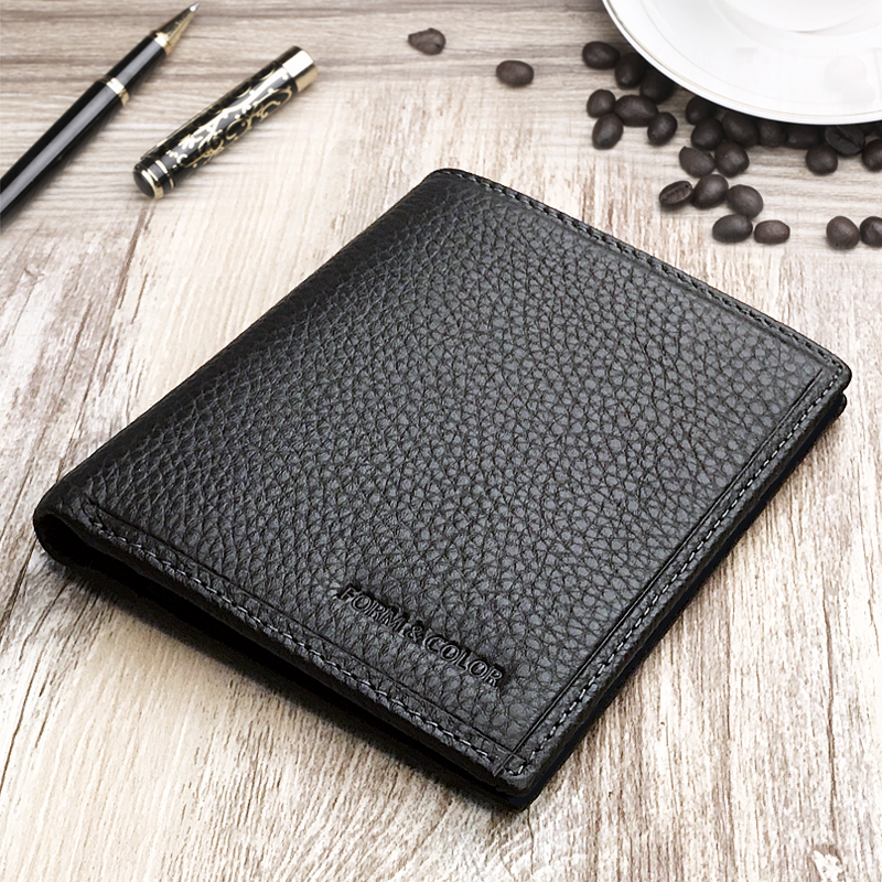 Wallet mens simple leather top leather casual short thin youth fashion brand authentic business mens wallet