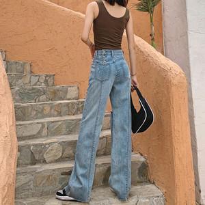夏季高腰垂感阔腿裤女士牛仔裤