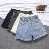 [NEMO家]牛仔短裤女2020新款夏高腰个性宽松a字ins潮卷边显瘦阔腿