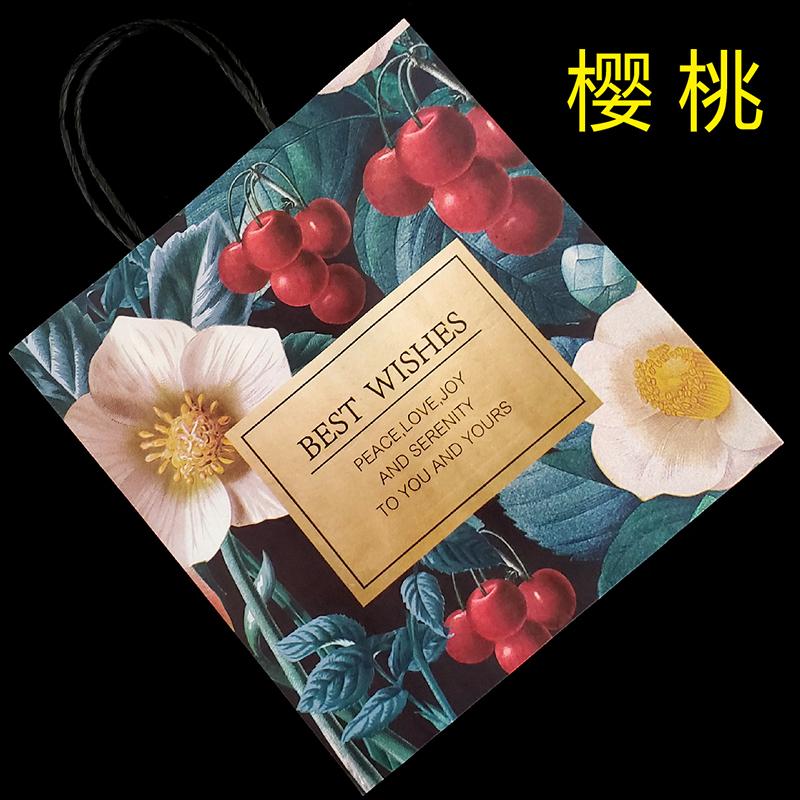 热带 水果 花朵纸袋定做定制甜品饮品外送外卖袋无纺布袋牛皮纸袋