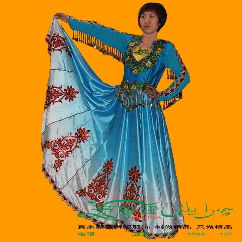 Синьцзян танец производительность одежда размер гонка народ для взрослых этап производительность платье платье платье алмаз 8 метр