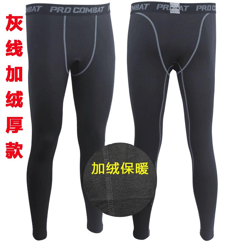 科比PRO篮球高弹力运动 男打底训练紧身长裤子速干加绒厚款加大码