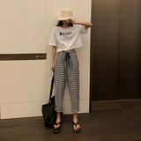 实拍 高腰阔腿裤女2020夏季新款格子裤宽松显瘦休闲裤B1246