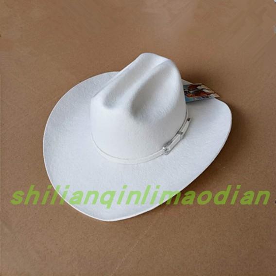 New Lihua pure wool top hat American Western Cowboy Big Brim Knight HAT wool tweed hat black and white spot