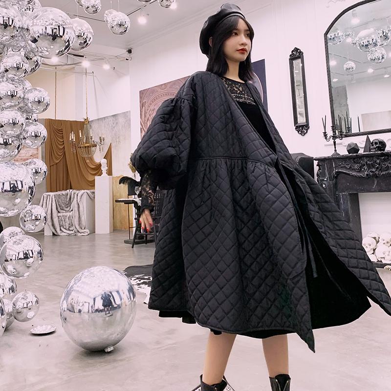 NANA韩版时尚棉服秋冬季中长款气质女装轻薄款过膝宽松新款bf外套