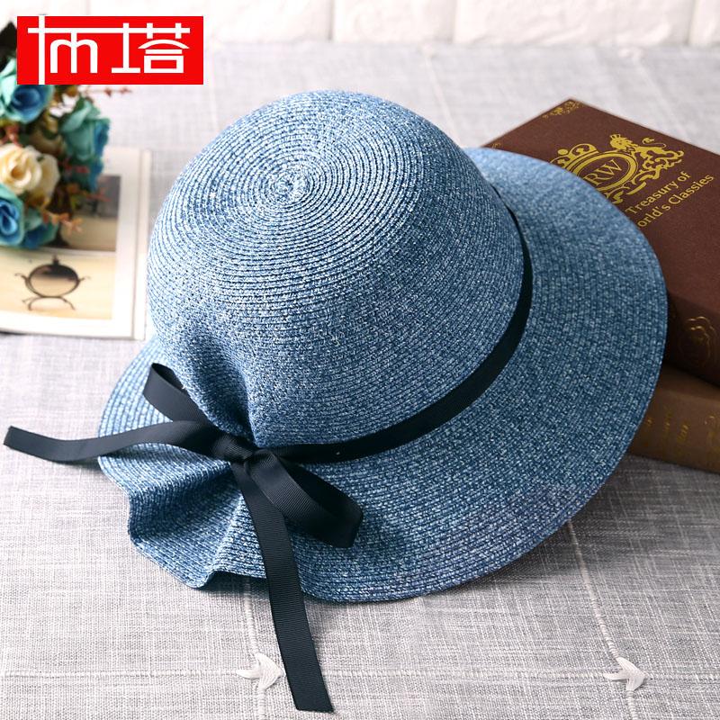 布塔草帽女夏天防晒遮阳帽子韩版可折叠太阳帽休闲百搭沙滩帽出游