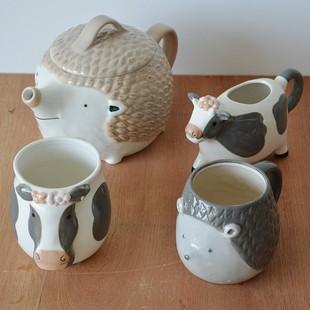 埃蘭迪爾出口單萌物陶瓷餐具趣味動物造形冷水壺茶壺牛奶杯子水杯