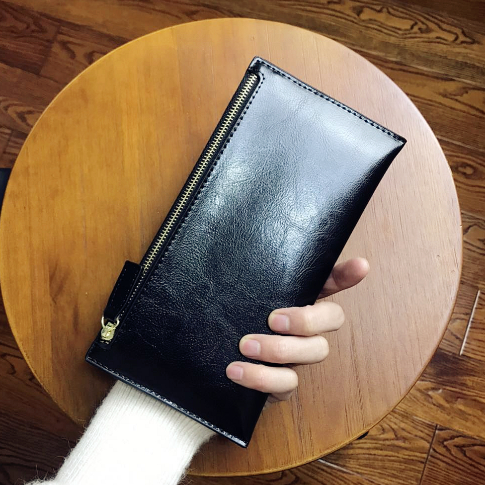 European and American new ultra thin womens Leather Wallet Retro Leather Wallet womens zipper long mobile phone bag large capacity fashion