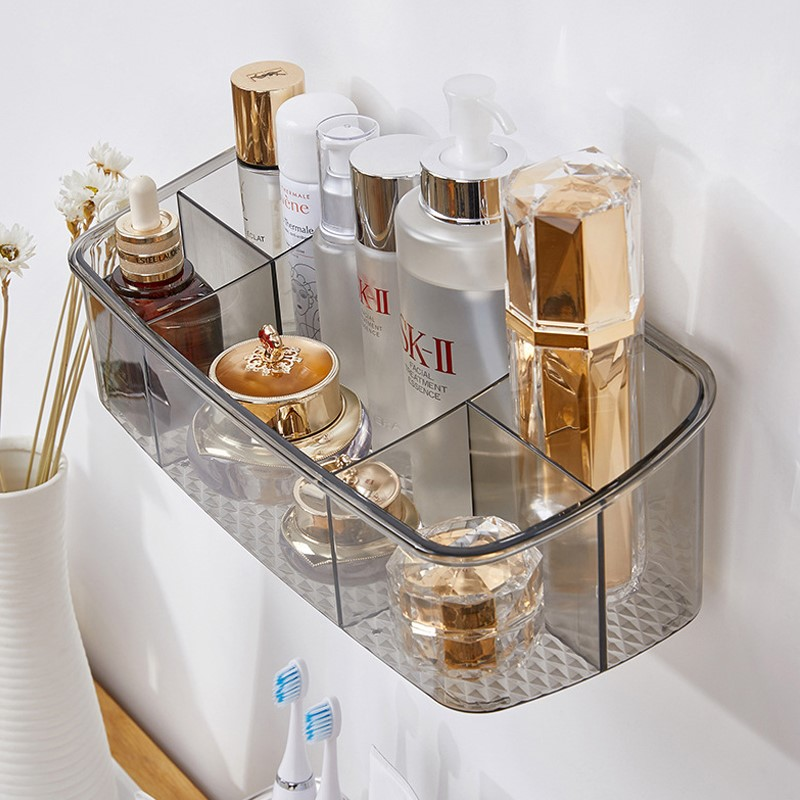 Bathroom toilet cosmetics storage box non perforated wall mounted dressing table skin care products toiletries shelf