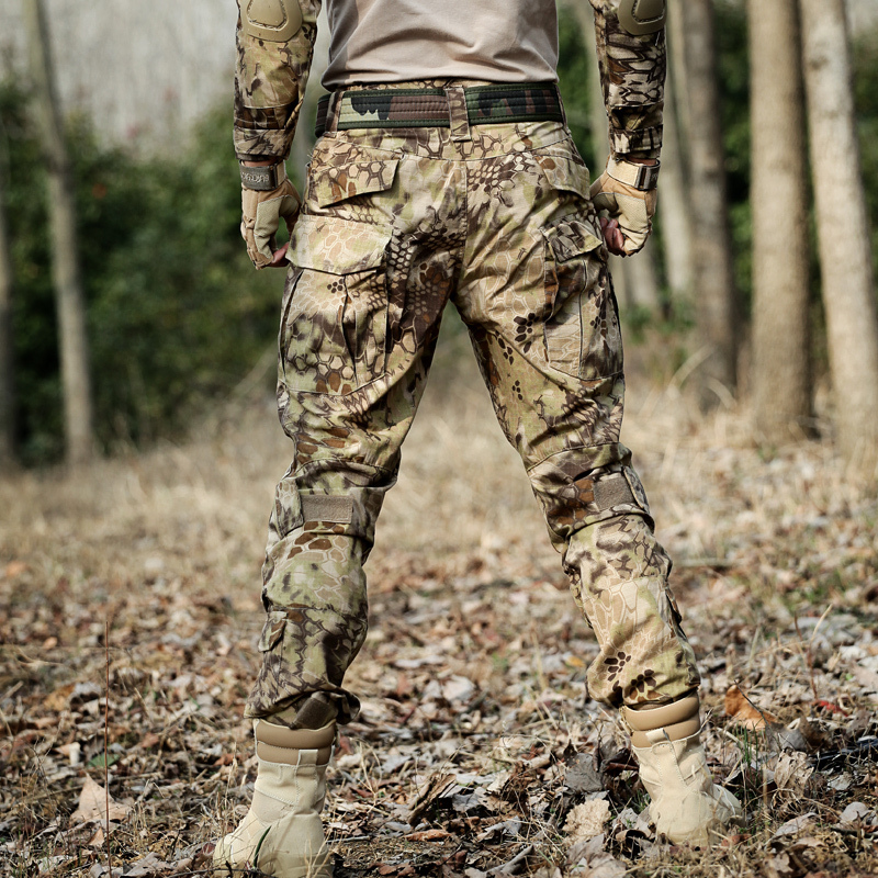 New camouflage suit pants mens and womens tactical pants frog pants military fans wear-resistant outdoor hiking overalls