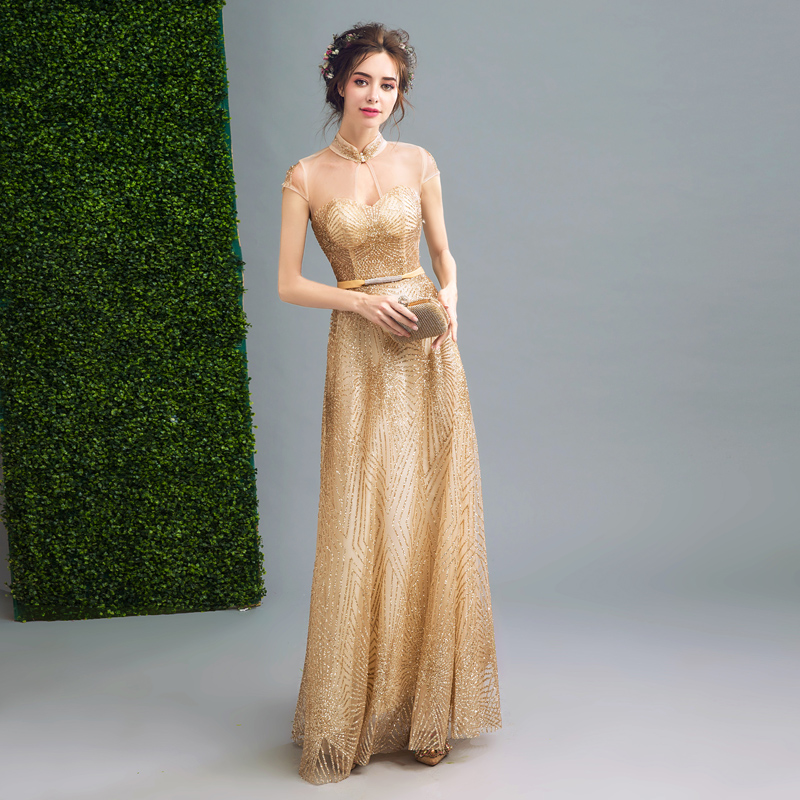 Chinese style wedding dress bright golden bride dress dinner will ...