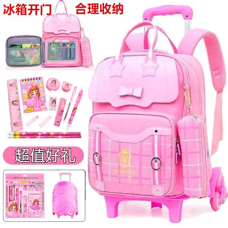 2020 folding bag autumn new backpack sewing Oxford spinning zipper solid color college pink package