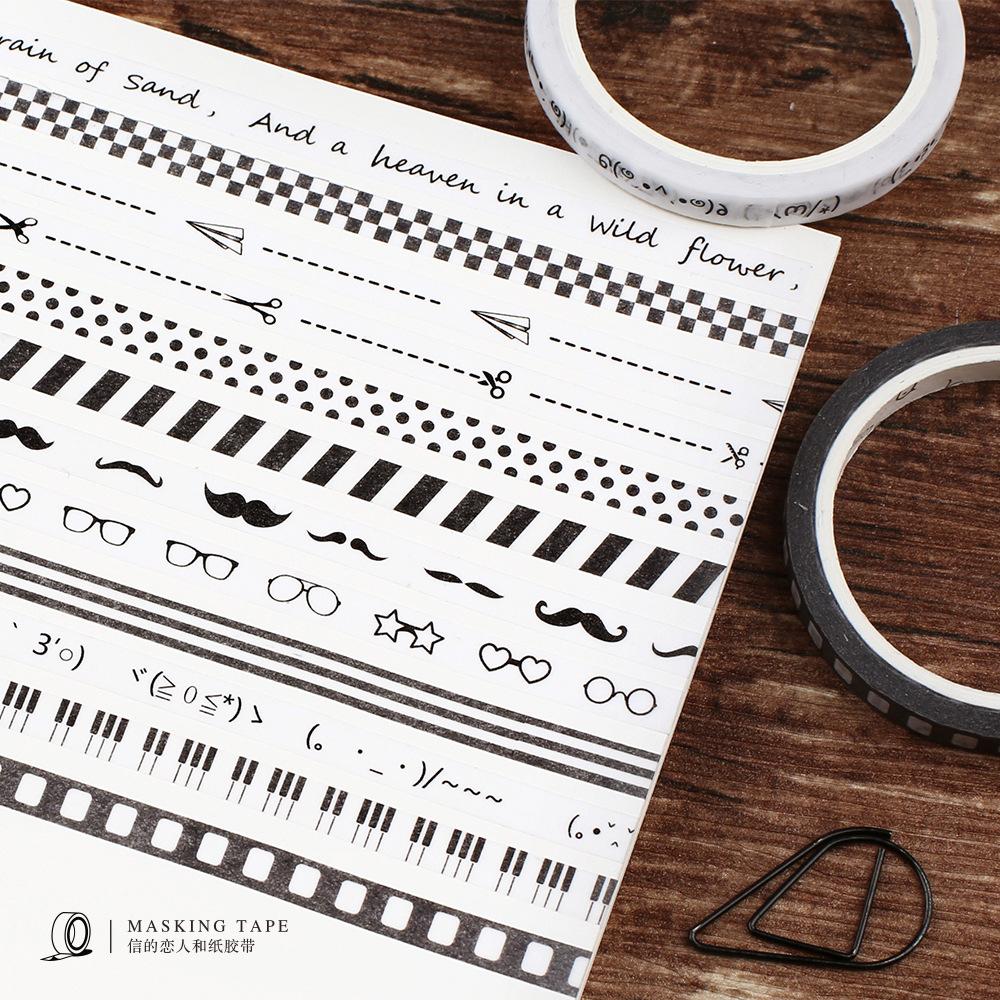 信的恋人和纸胶带 黑白斑斓slim DIY日记手帐装饰贴纸 5mm细 整卷