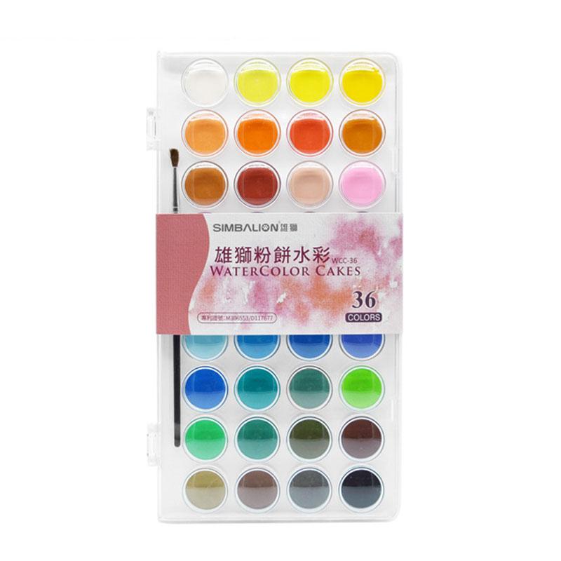 雄獅透明固體水彩顏料28色 36色透明固體水彩粉餅顏料套裝