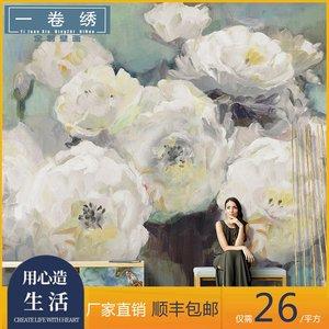 北欧手绘复古油画玫瑰花卉客厅电视背景墙纸沙发无缝壁纸壁画墙布