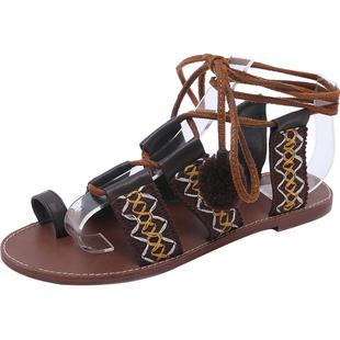 民族風波西米亞涼鞋女夏仙女風平底學生2020新款網紅女鞋羅馬綁帶