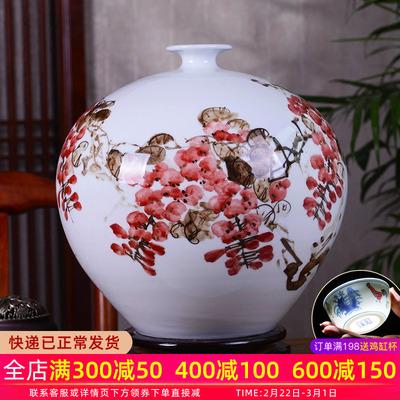 景德镇陶瓷花瓶摆件名家手绘紫气东来花瓶插花现代中式客厅装饰品