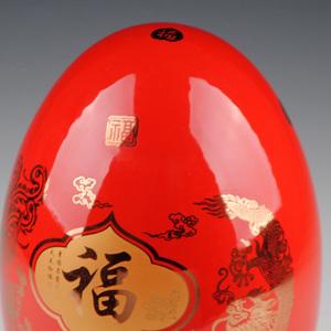 景德镇陶瓷器中国红龙凤福蛋花瓶摆件现代时尚家居装饰工艺品摆设