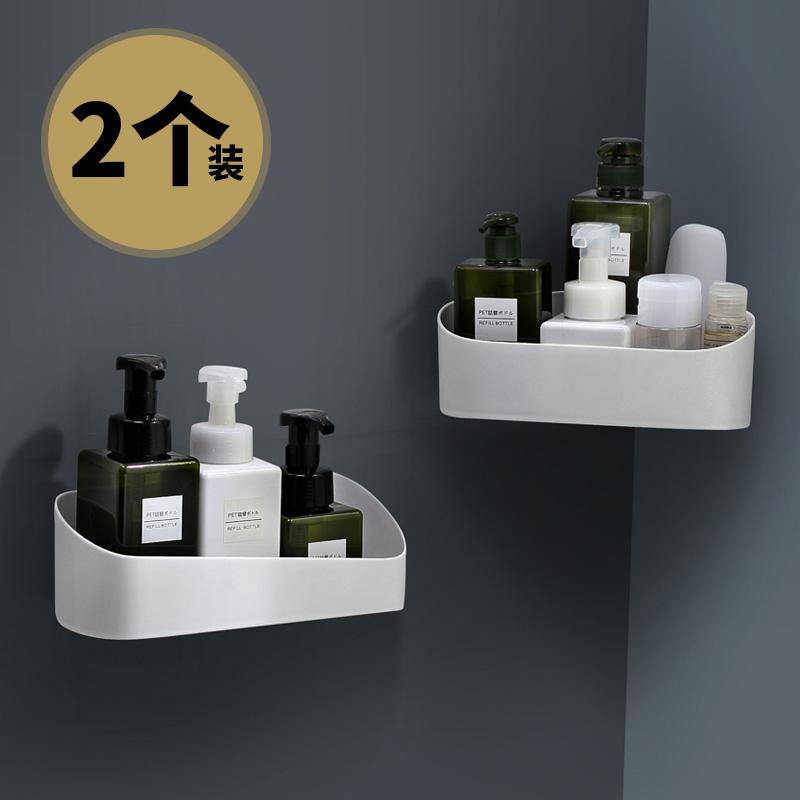 免打孔卫生间浴室置物架三角架收纳架壁挂洗手间洗漱台单层转角架