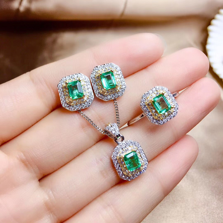 Japanese and Korean 925 silver plated 18K gold inlaid natural emerald ring necklace pendant womens Earrings Jewelry Set