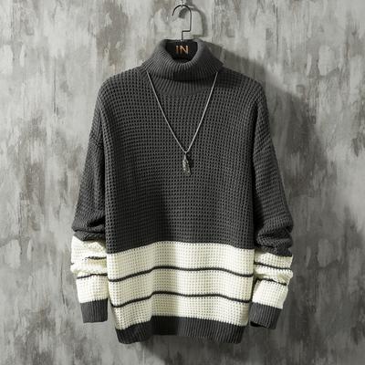 冬季灰墻 潮流韓版加厚撞色提花毛線衫圓領毛衣 M830P65
