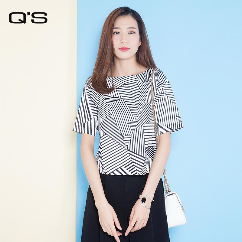 Q'S/秸熙女装夏装新品  韩版宽松一字领条纹短袖T恤JXT526