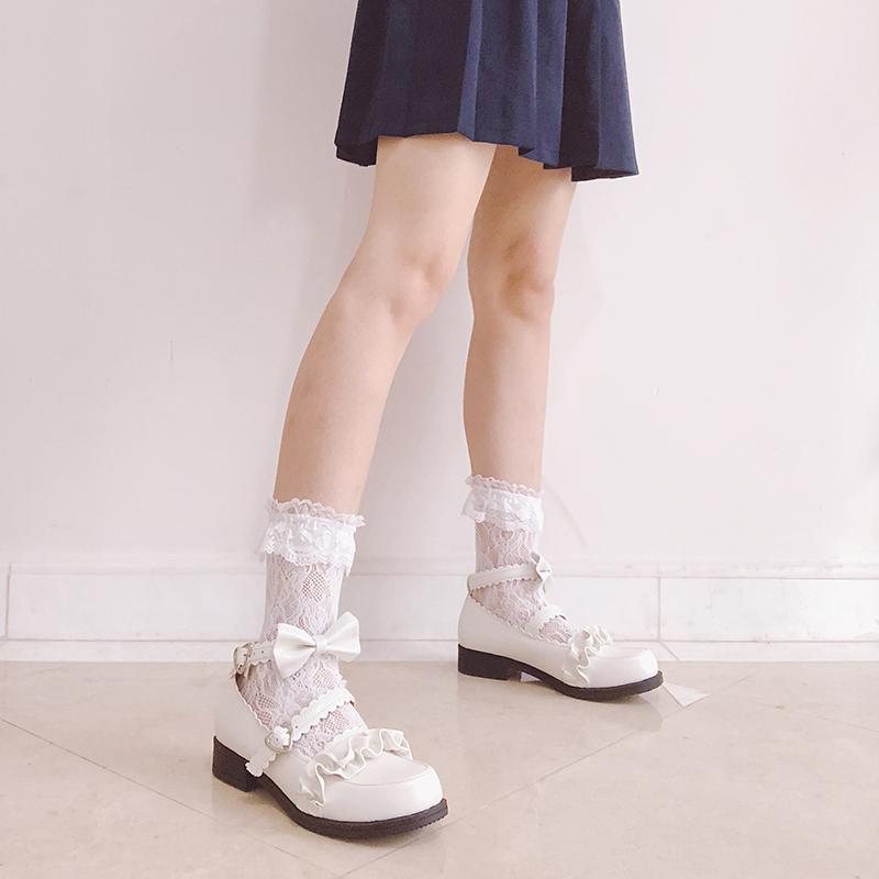 洛丽塔lolita日系风百搭梅露露花边圆头低跟平底学生配裙子的女鞋