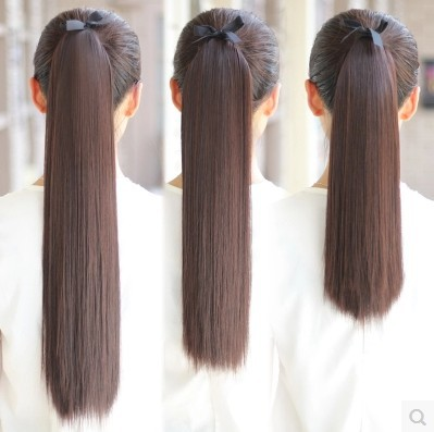 Fake hair with ponytail female binding low ponytail wig long straight hair braid ponytail simulation natural short ponytail