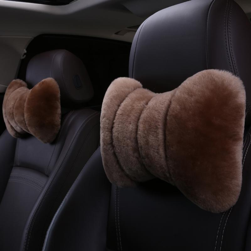 冬季纯羊毛汽车头枕皮毛一体纯短毛车用护颈枕冬天加厚保暖靠枕,可领取5元天猫优惠券