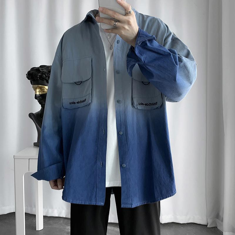 子俊秋季复古扎染长袖男韩版bf衬衫10月27日最新优惠