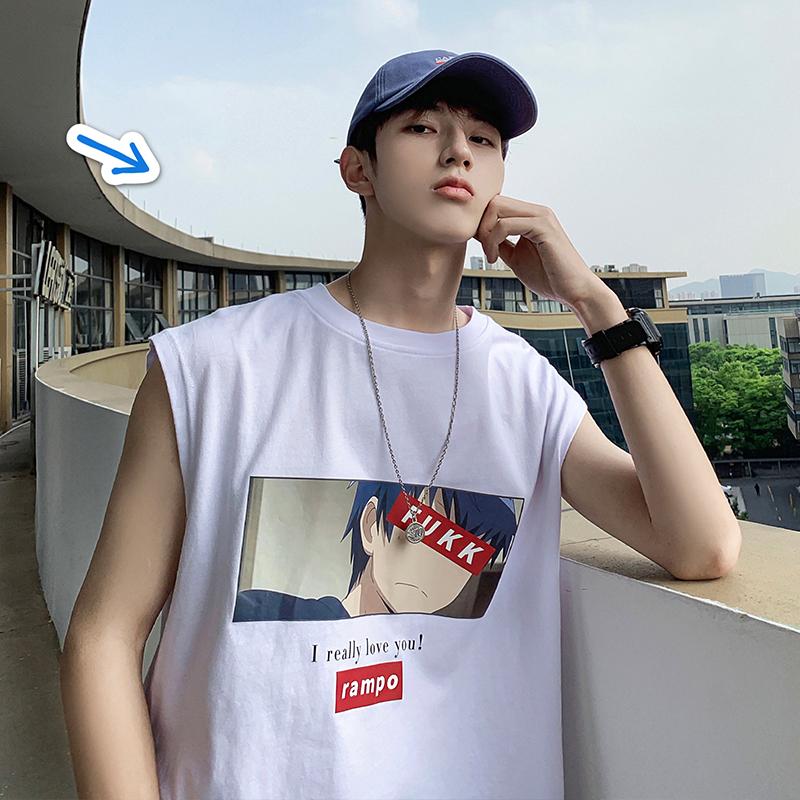 子俊男装夏季卡通印花无袖T恤男潮韩版宽松汗衫街头嘻哈打底背心