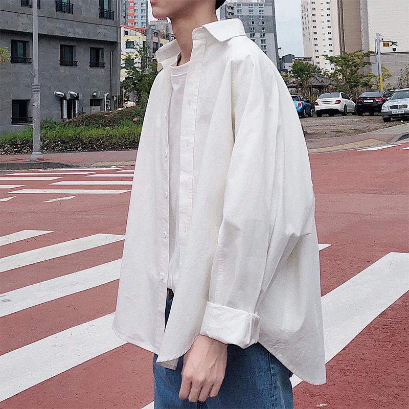 港风秋季新款纯色宽松翻领长袖oversize衬衫bf风男士百搭衬衣外套11月22日最新优惠