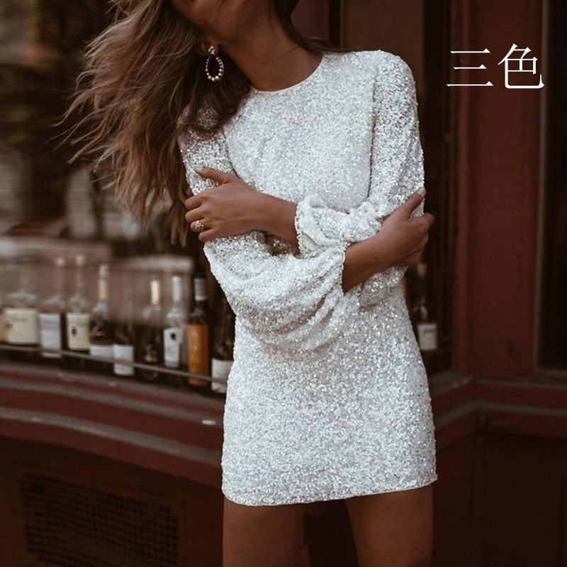 [Yanyan] 2021 European and American foreign trade new womens dress round neck long sleeve Slim Pencil Skirt