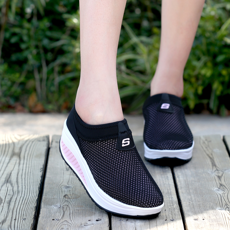 Spring, summer and autumn mesh womens low top shoes rocking shoes fitness swing breathable shoes mothers shoes womens leisure sports shoes